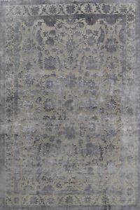 Vegetable Dye Carved Gray Floral Peshawar-Chobi Handmade Oriental Area Rug 9x12