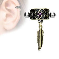 Tribal Net w/ Feather Dangle & Blue Opal Ear Cartilage Ring Helix Cuff