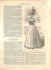 COSTUME ROBE MODE FEMME FRANCE 19 XIX SIÈCLE JUIN ÉTÉ 1896 GRAVURE