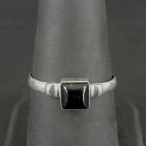 Ring Silver Black Onyx Square Stone Sterling 925 Size 8 Band Ring