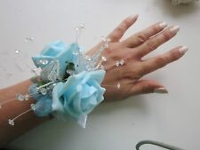 Blue & Silver Wrist Corsage Prom Or Wedding Flowers Foam Rose Bride Maid Mother