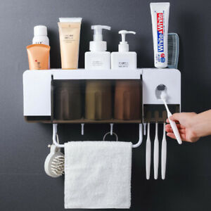 Bathroom Storage Washable Rack Wall-Mounted With Bar Hook Toothbrush Holder