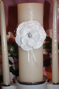 Ivory White Floral Sash Wedding Unity Candle Set