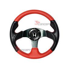 320mm JDM Steering Wheel Black & Red PVC Leather 2 Tones w/ Silver H Emblem