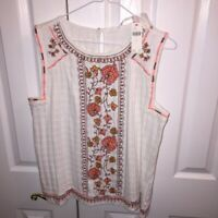 Anthropologie Womens Tank Top Multicolor Floral Scoop Keyhole Embroidered L New