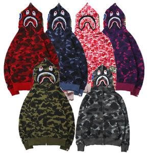 Bape A Bathing Ape Hoodie Herren Jacket Shark Jaw Camo Full Zipper Sweats Coat