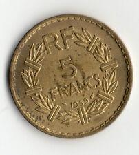 BELLE QUALITE MONNAIE DE 5 FRANCS LAVRILLIER BRONZE ALU DE 1939 @ RARE QUALITE 2