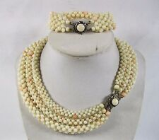 Victorian ART DECO Woven white & salmon Coral Beaded Mesh Necklace sterling set