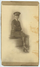 CHILD/YOUNG MAN IN MILITARY DRESS HAT W/ INSIGNIA, MEDALS   BOOTS STUDIO PHOTO