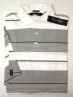 NWT $98 Polo Ralph Lauren Golf SS White Grey Shirt Striped Mens Size M L Gray