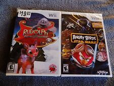 NEW 2X LOT Rudolph the Red-Nosed Reindeer,ANGRY BIRDS STAR WARS  Nintendo Wii,