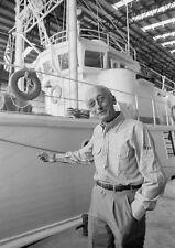 8x10 Print Jacques Cousteau Next to Calypso #JCCA