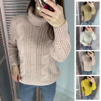 Womens Thick Wool Turtleneck Pullover Sweater Solid Color Loose Cable Knit Tops