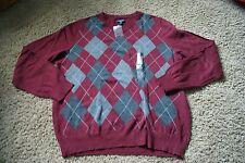 CROFT & BARROW men's sz L cherry/gray NWT geometric pattern v-neck sweater