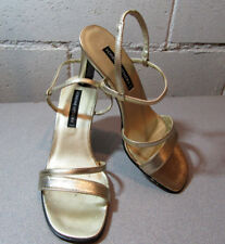 aec04364cb3f Adrienne Vittadini Vintage Women s Size 6.5 Leather Gold Heels Sandals Italy