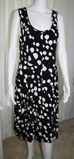 JOSEPH RIBKOFF Sz US10 UK12 Black & White Dress Polka Dot Polyester EUC