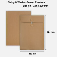 More details for c4 size quality string and washer envelopes button tie brown manilla cheap