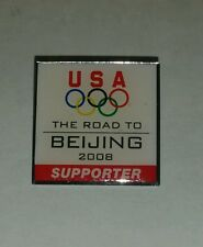 OLYMPICS OLYMPIC RINGS 2008 USA THE ROAD TO BEIJING SUPPORTER LAPEL HAT PIN