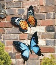 2 Large Bright 35cm Metal Butterfly Garden Wall Art Orange & Blue Indoor Outdoor
