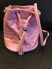 "Pink Plastic Heart Round Base Shoulder Drawstring Bag 7"" High"