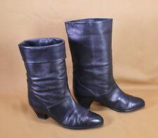26S Gabor Stiefel Slouch Boots Leder schwarz Gr. 38 mit Umschlag Vintage Boho
