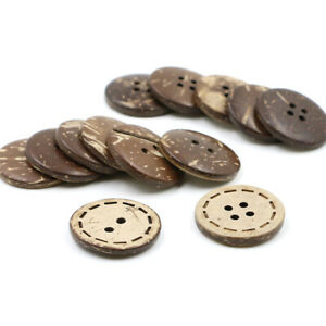 Crafts 10-25mm Sewing Buttons Natural Coconut Shell  Brown 2/4 Holes DIY
