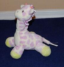 """8"""" Aurora Baby Purple Cream & Green Plush Giraffe Stuffed Animal"""