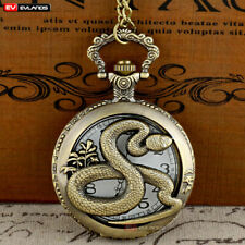 Vintage Pocket Watch Quartz Animal Snake Antique Necklace Pendant Chain Retro