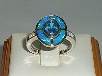 Ladies Art Deco Sterling 925 Solid Silver Opal Sapphire & Aquamarine Target Ring