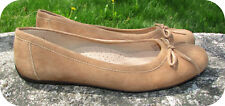 L.L. Bean Ballerina Ballet Flats 8.5M Lt Brown Suede Made in Brazil Driving Heel