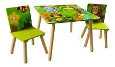 Jungle Kids Table And 2 Safari Chairs Set Animals Playroom Bedroom