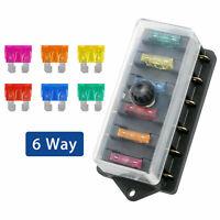 Fuse Box 6 Vie Blocco Di Fusibili Lama Portafusibili 12V-24V Per Audio Auto