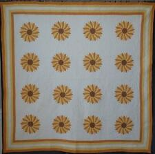 Autumn Perfect! Vintage 30-40s Yellow & Orange Sunflower Quilt 80x79