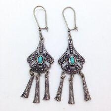 Bali Style Turquoise Drop Dangle Chandelier Earrings Sterling Silver 925 FMGE