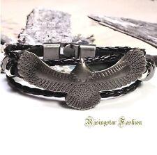 Men Trendy Soaring Eagle Surfer Biker Leather Fashion Hip Bracelet Wristband