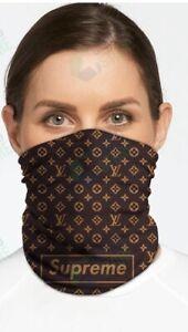 *~*Brand New Face Mask Neck Gaiter Brown & Orange/Gold Fashion Style Designer*~*