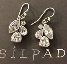"""Silpada Sterling Silver Earrings W2781 Fancy That Cubic Zirconia Cluster HTF 1"""""""