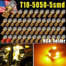 50X Amber Yellow T10 5SMD 5050 LED Car Dome License Map Light W5W 168 192 194
