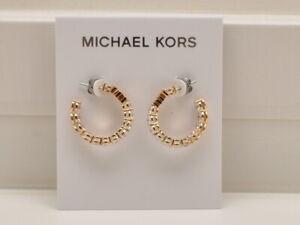 MIchael Kors Crystal Hoop Earrings Rose Goldtone MKJ7312791 New!
