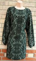 H&M GREEN SNAKE PRINT LONG SLEEVE WIDE CUT BAGGY SHIFT SMOCK TUNIC DRESS 14 L