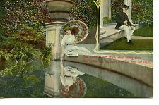Lady Thinks of Sweetheart Soldier-Parasol-Romance-Love-Vintage Greeting Postcard