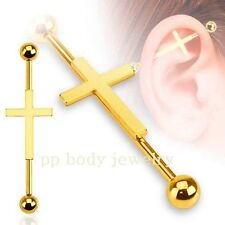"""1pc. 14G~1-1/2"""" (38mm) Gold IP Plated Surgical Steel Cross Industrial Barbell"""