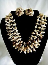 Vintage Jewelry Set 4 Strand SHELL Collar Choker Necklace & Earrings Pearlescent