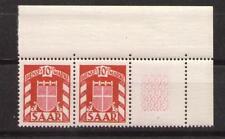 1949 Saar Dienstmarke Mi 33 Paar EOR mit Zierfeld ** postfr.