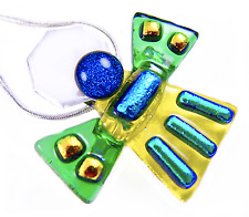 Dichroic Fused Glass ANGEL Amber Green Blue PENDANT PIN COMBO Gold Teal Accents