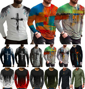 Mens Long Sleeve Print T-Shirt Tops Crew Neck Casual Muscle Tee Slim Fit Blouse#