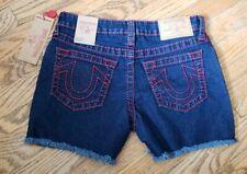 NWT True Religion Girls Big T Shorts, Size 14, Red Stitching