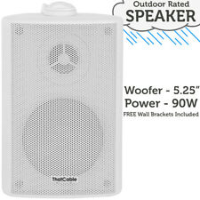 """5.25"""" 100V/8Ohm Outdoor/Weatherproof Speaker White – 90W IP54 Rated Background"""