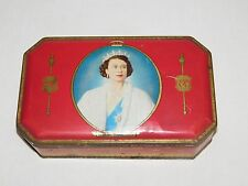 VINTAGE 1953 CORONATION SOUVENIR MAJESTY QUEEN ELIZABETH BENSONS CANDY TIN BOX