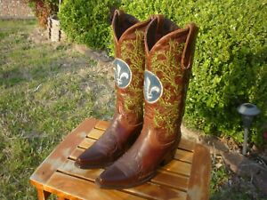 Women's 7 M B Lane Brown w/ Leafy Shafts Snip Toe Western Cowboy Boots LB 0084 A